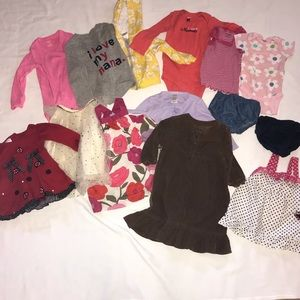 Bundle of 14 baby girls clothes